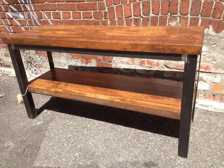 Modern Metal TV Stand With Reclaimed Wood Top And Shelf