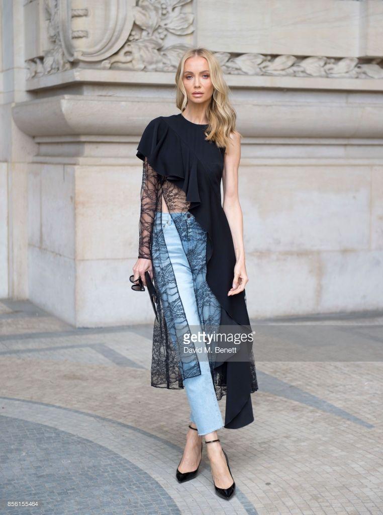 Tatiana Korsakova attends Elie Saab show as part of the Paris Fashion Week  Womenswear Spring Summer 2018 wearing a Adeam top ,Saint Laurent Jeans and  Saint ... 326a8d88562