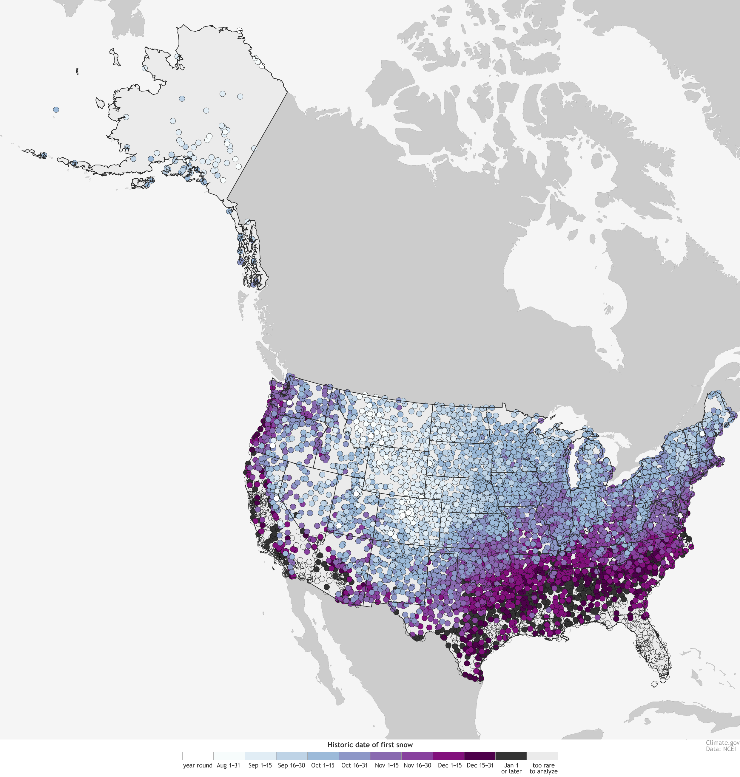 Historical map that estimates the first day of snow for an average
