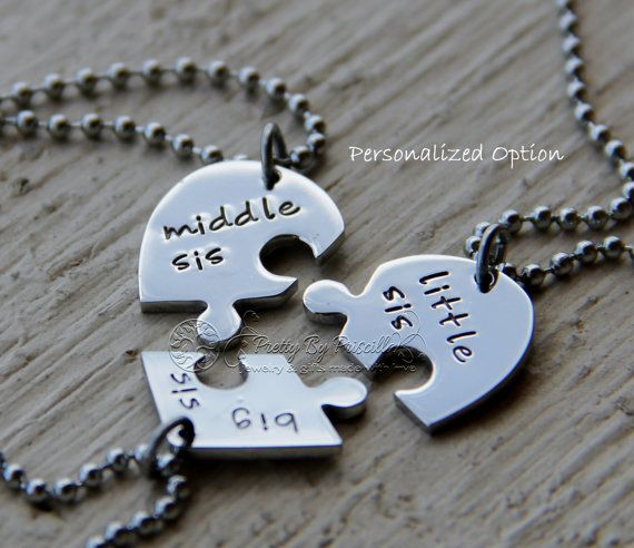 Learned Fashion Vintage Personalized Silver Puzzle Necklace Set Love Heart Letter Pendant Necklace For Sister Forever Best Friend Gifts Chain Necklaces