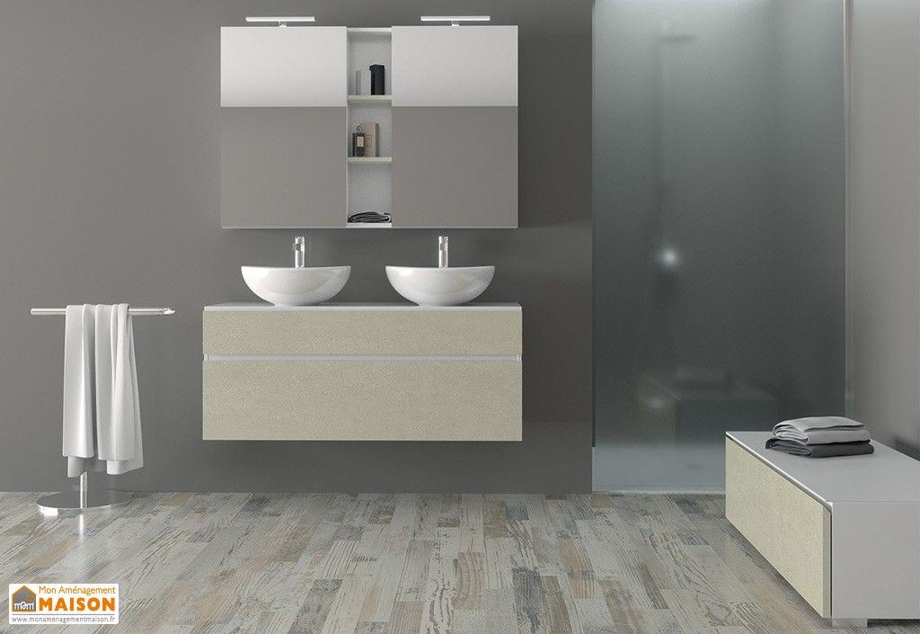 Salle De Bain Avec Meuble Suspendu 2 Vasques Meuble Bas Armoire De Toilette Led Meuble De Salle De Bain