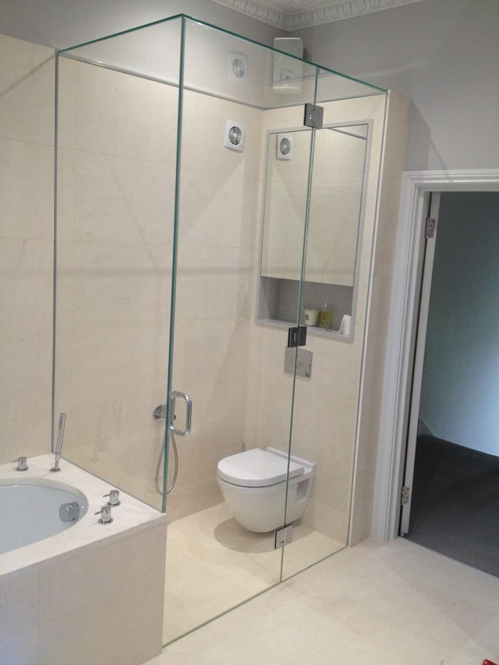 Frameless Glass WC enclosure in low-iron glass with glass top ...