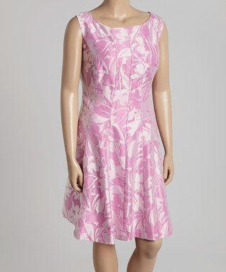 Violet & Cream Floral Sleeveless Dress - Plus