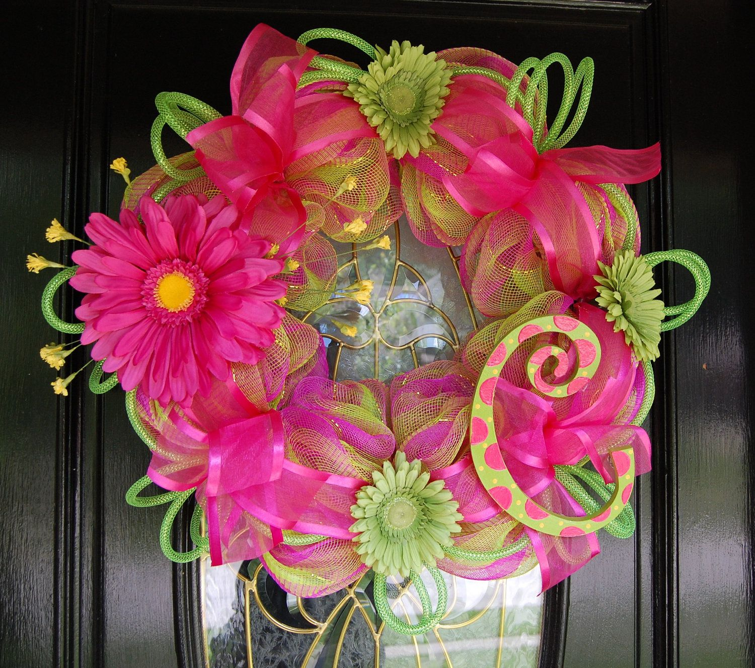 Pink & Green Mesh Monogram Wreath by polkadotowlcreations on Etsy, $75.00