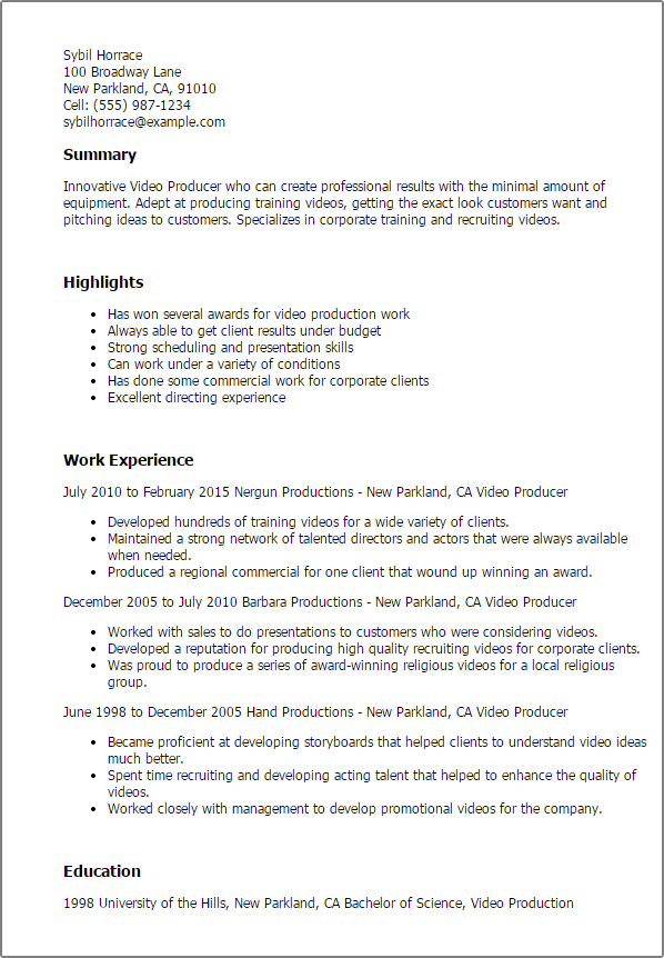 Resume Examples Video Production Resume Templates Sample Resume Video Resume Resume Examples