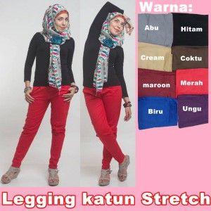 Celana Legging Wanita Murah Katun Stretch Pakaian Wanita Celana Hijab