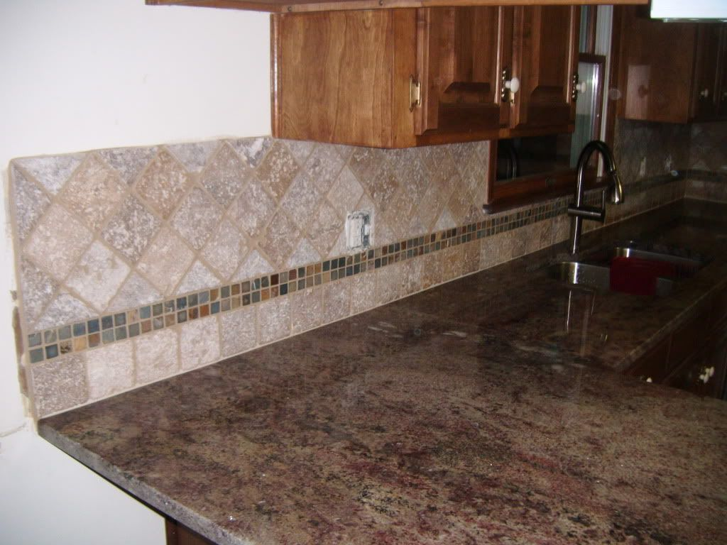 4x4 Noce W Slate Inlay Mosaic Backsplashbacksplash