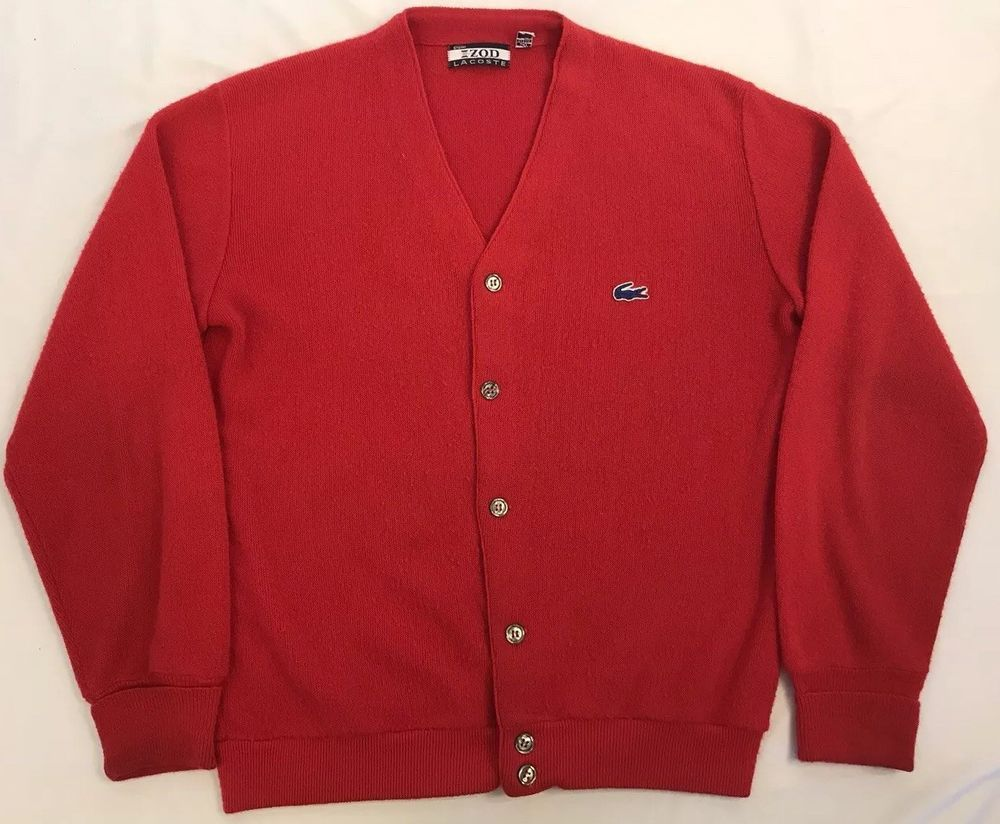 254eb94a2e04d Vintage Izod Lacoste Men's M Red Acrylic Cardigan Sweater #Lacoste ...