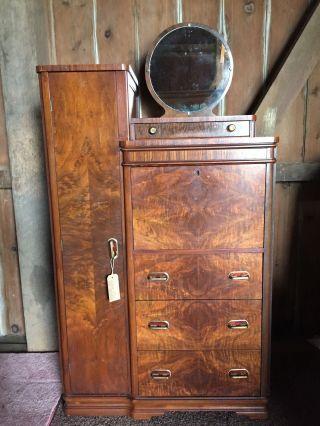Art Deco Cedar Lined Wardrobe Closet With Locking Desk Photo