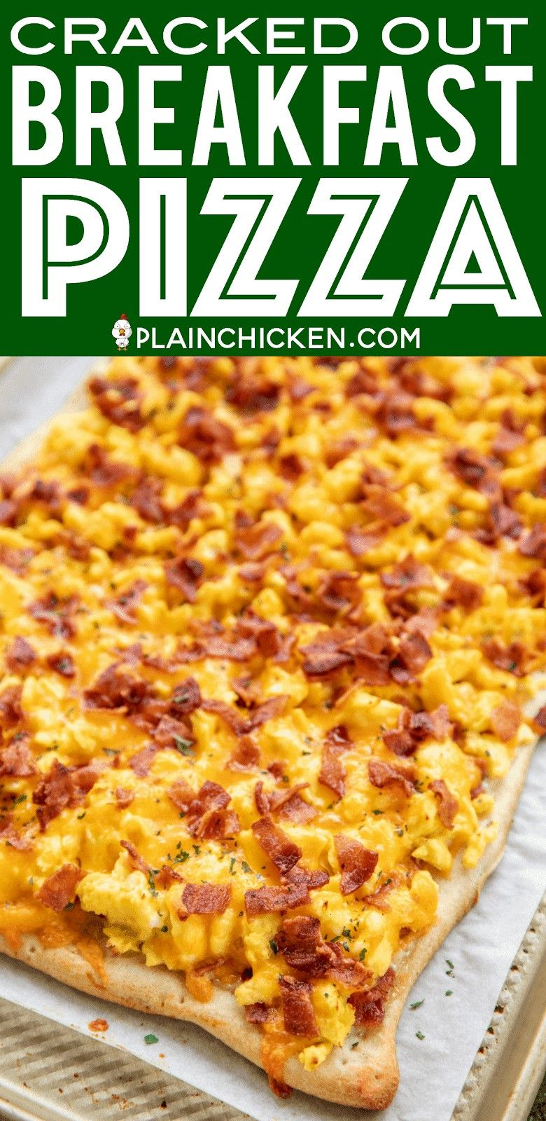 Out Breakfast Pizza  loaded with cheddar bacon and Ranch SO GOOD Easy enough for a weekday breakfast Refrigerated pizza crust topped with ranch dressing scrambled eggs ba...