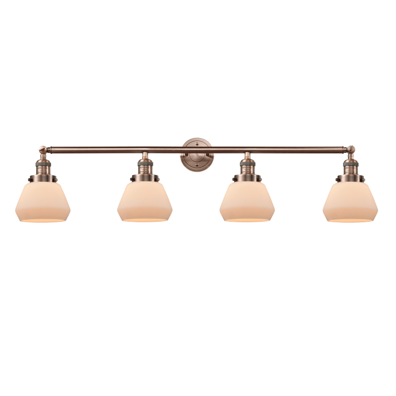 Photo of Innovations Lighting 215-S Fulton Fulton 4 Light 43″ Wide Bathroom Vanity Light Antique Copper / Matte White Cased Indoor Lighting Bathroom Fixtures