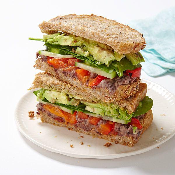 Veggie Sandwich with Lemony-Black Bean Spread 7p+