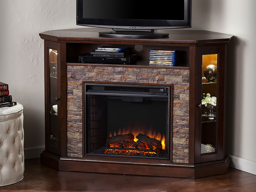 Redden Wall Corner Electric Fireplace Tv Stand In Espresso Fireplace Tv Stand Electric Fireplace Tv Stand Fireplace Tv Corner electric fireplace entertainment center