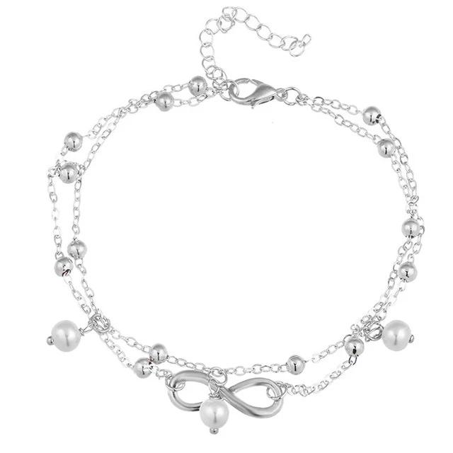 Women Blue Stone Beads Bohemian Ankle Bracelet