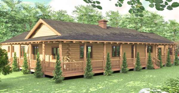 Looking For A One Story Log Home That S Spacious Enough For A Large Family You Ve Found It Log Home Floor Plans Log Cabin Floor Plans Log Homes