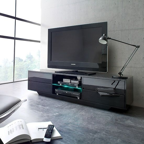 Sienna Tv Stand Unit In Black High Gloss With Led Lights Front