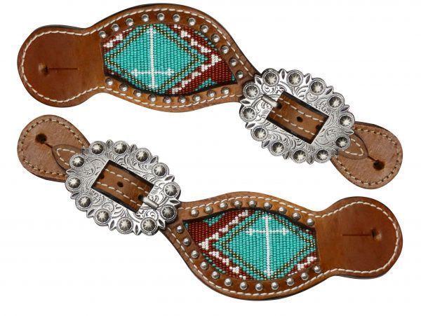 Showman Ladies FLORAL Tooled SPUR STRAPS Black /& Medium Oil Leather Adjustable