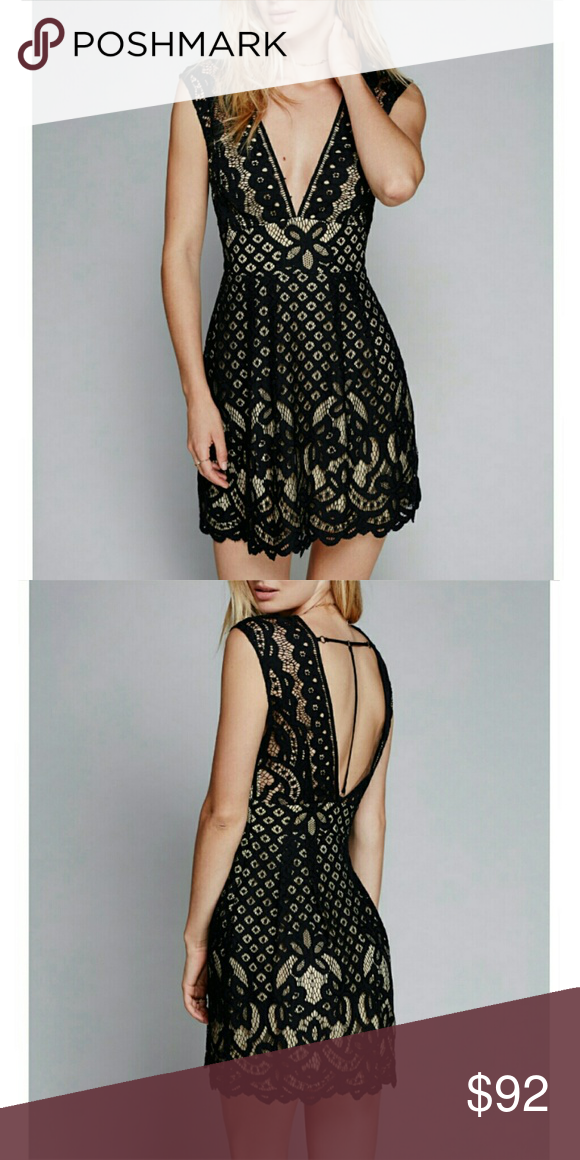 3bea1be5223 FREE PEOPLE One Million Lovers Lace Dress Size 2! Free People One Million  Lovers Lace Dress in black! Lovely lacey dress featuring a front and back  plunging ...