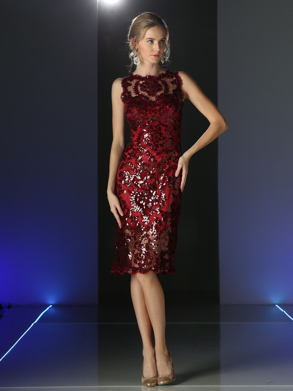 Formal dresses red lace cocktail