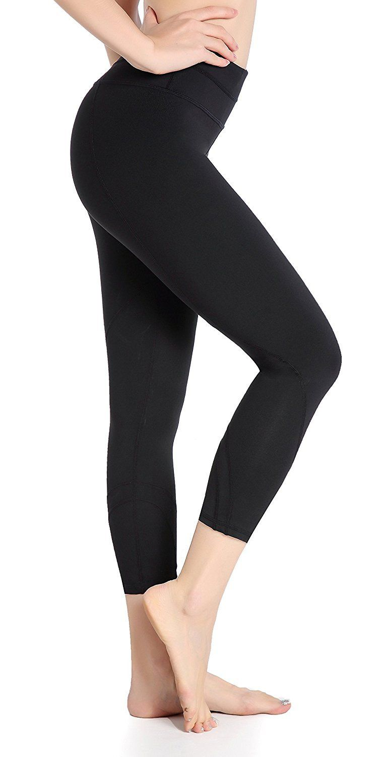 DeepTwist Women's Yoga Pants Active Workout Capri Leggings Stretch Running  Tights with Hidden Pocket Black,
