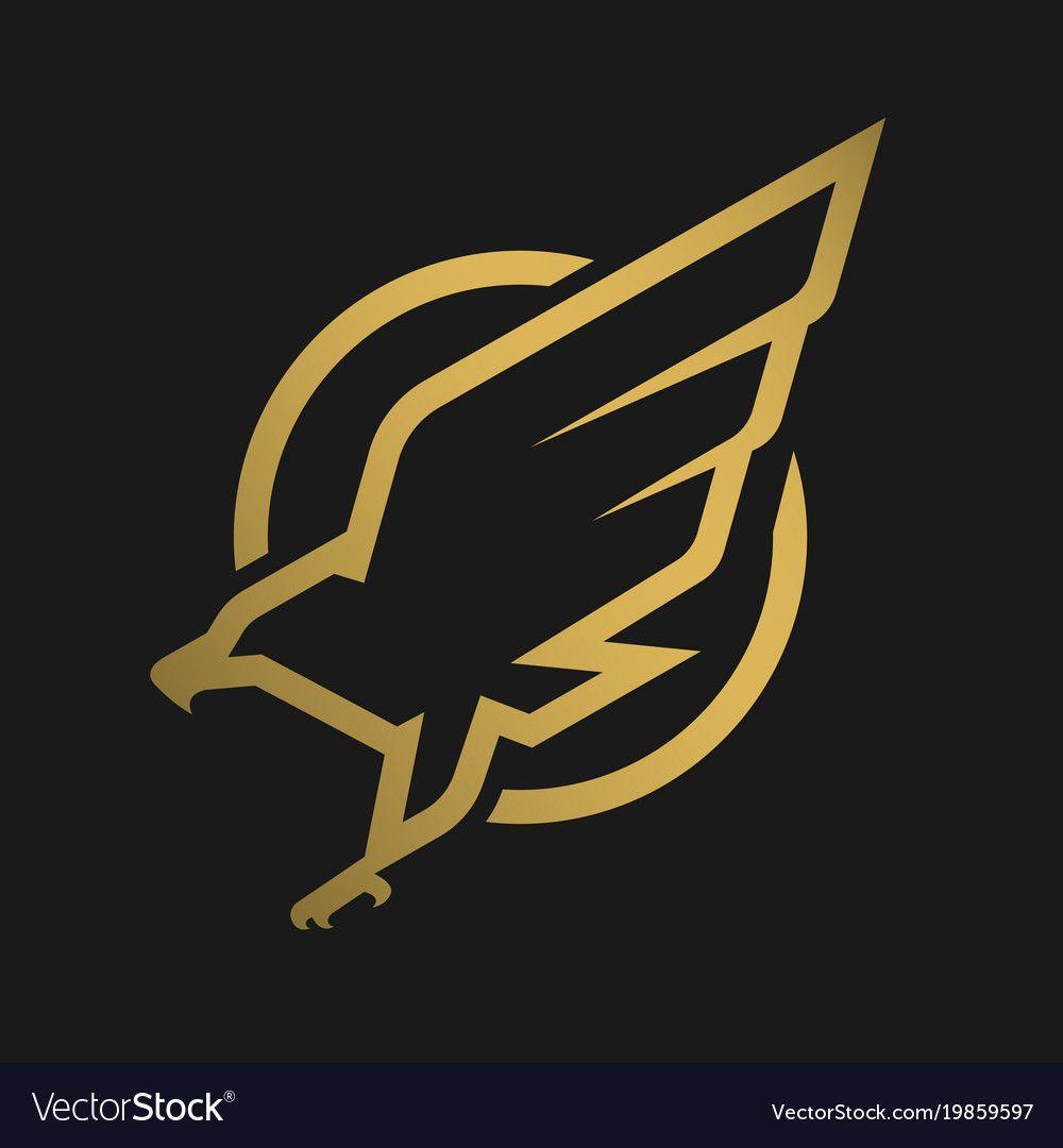 Eagle Logo Emblem On A Dark Background Vector Image On Vectorstock Logo Design Art Emblem Logo Eagle Logo