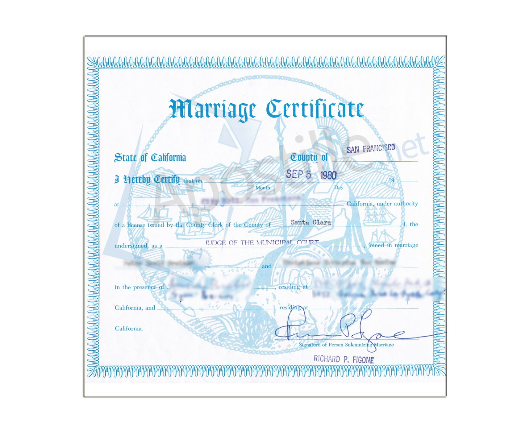 San Francisco Marriage Certificate  State Of California Sample