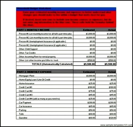 Bank of America Personal Budget Spreadsheet in Excel Sample
