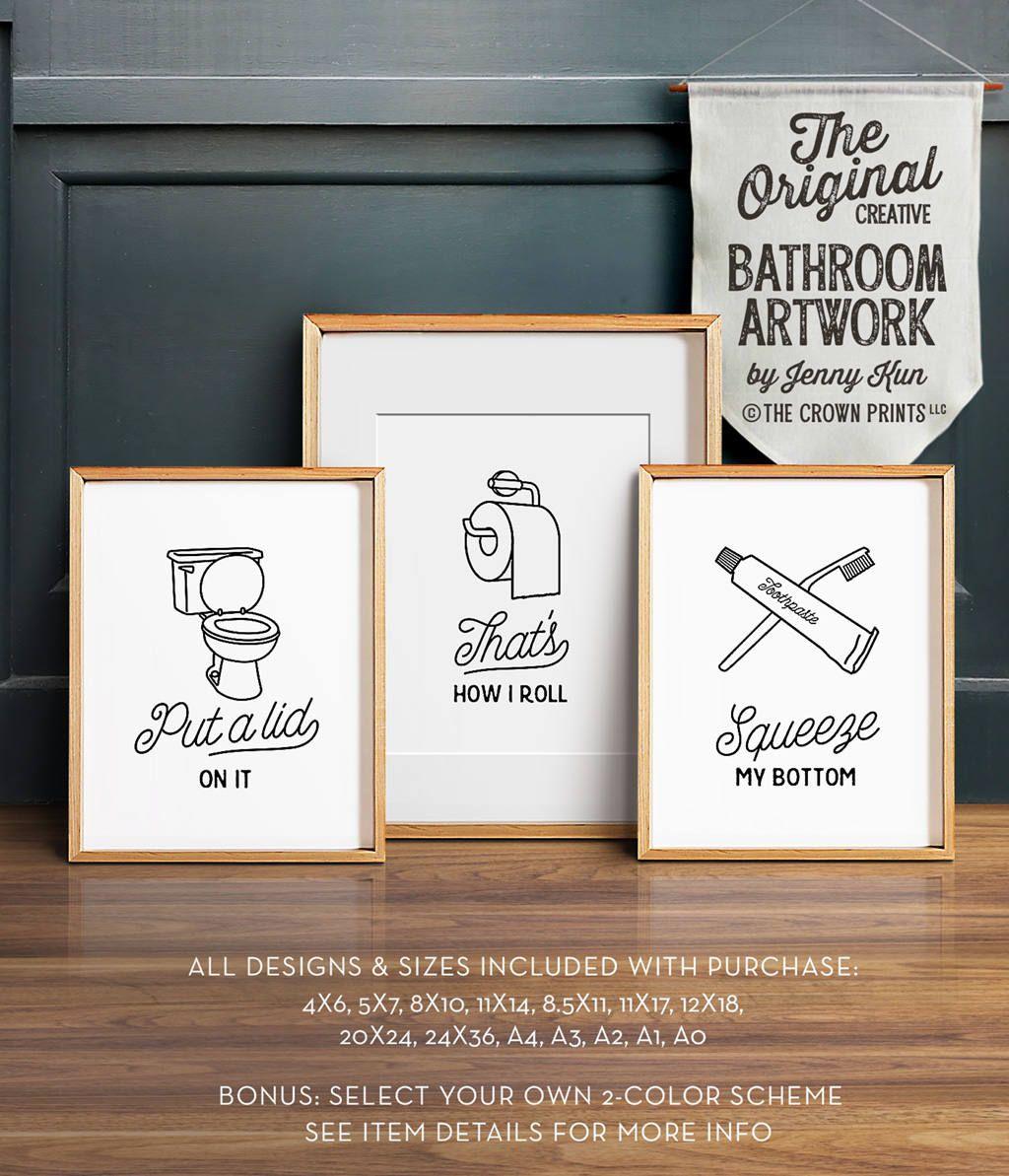 Funny wall art, Bathroom art, PRINTABLE art, Set of 3, Bathroom wall ...
