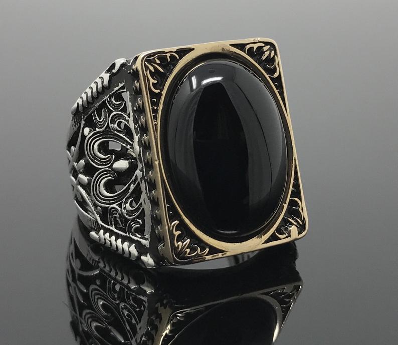 Large Handmade 925k Sterling Silver Natural Oval Black