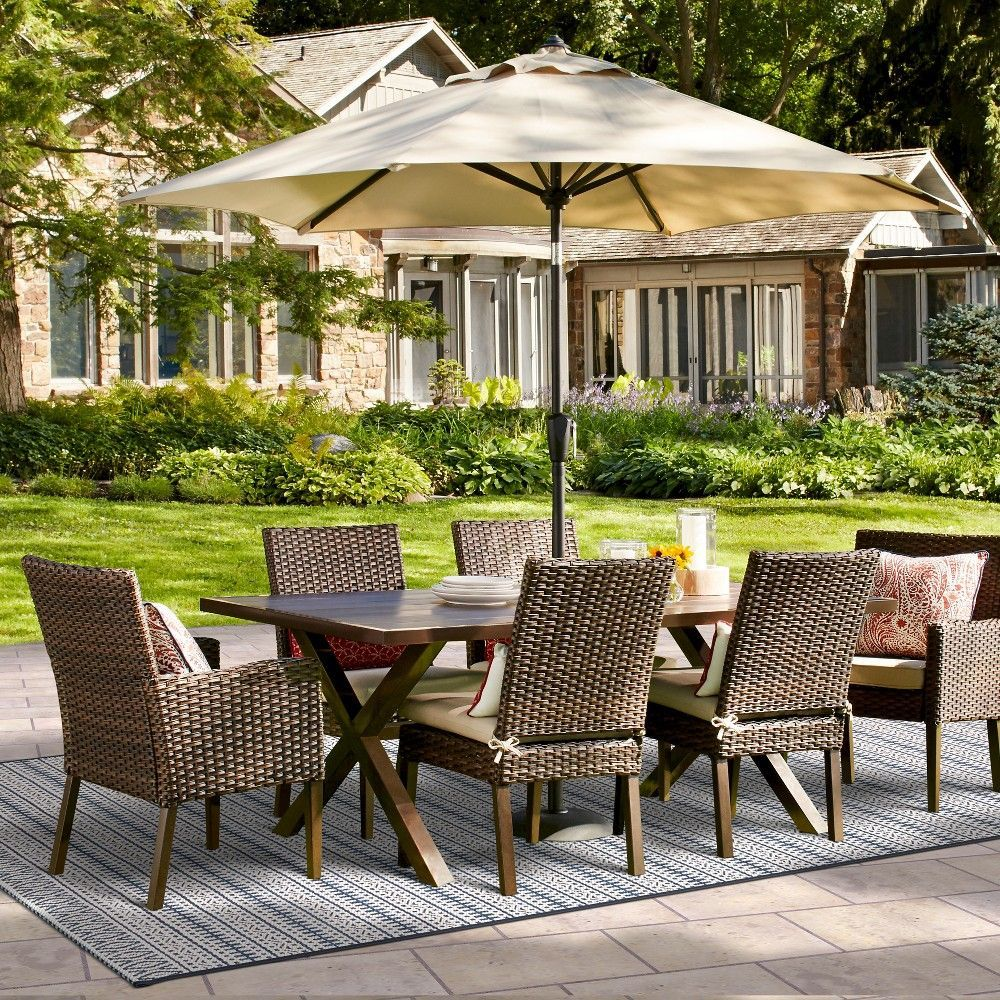 halsted 7 pc wicker patio dining set tan threshold. Black Bedroom Furniture Sets. Home Design Ideas