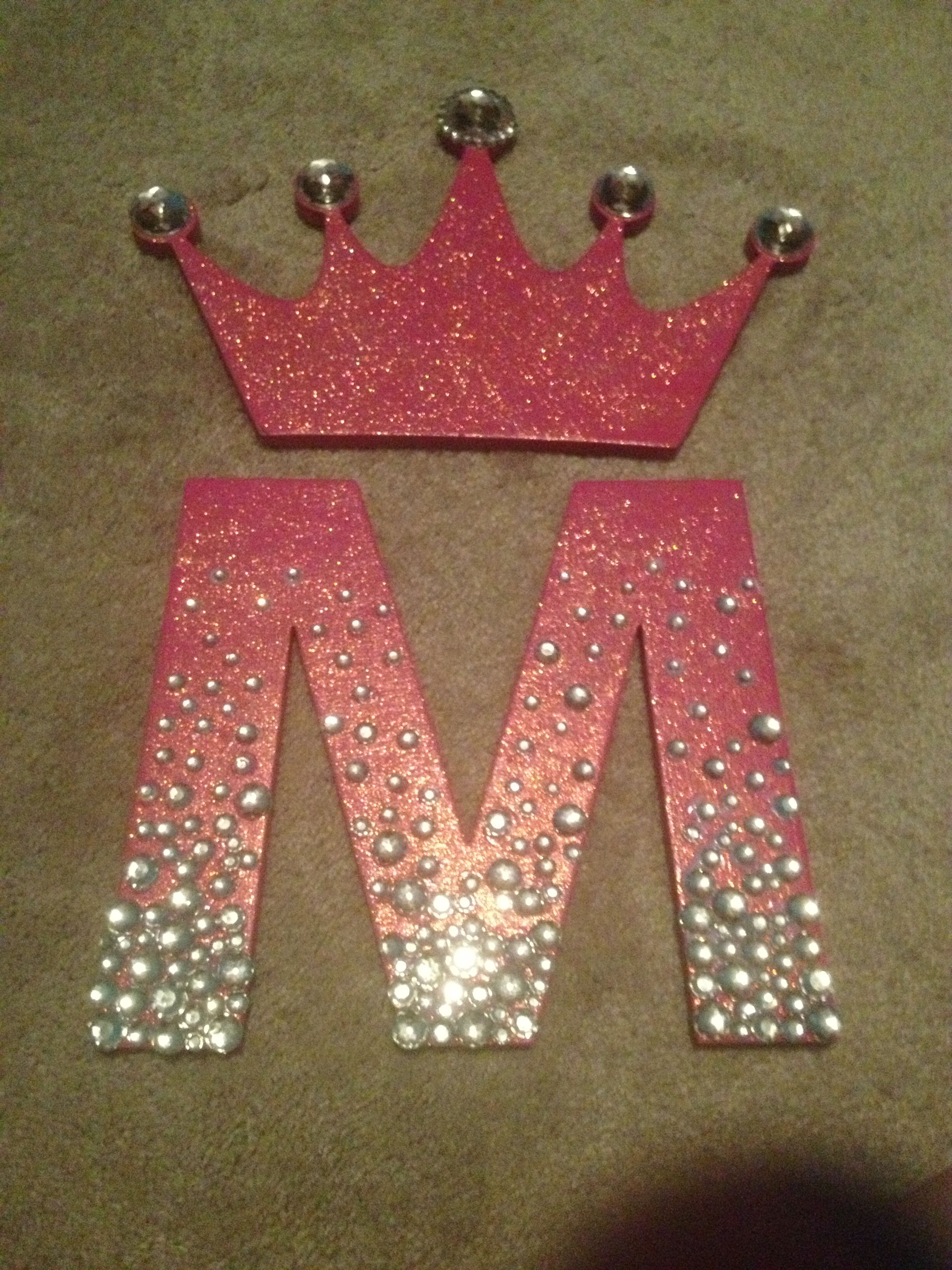 Letters Painted And Modge Podged Before Adding Glitter Hobby Lobby Gems Added After Finishing Letter A Crafts Wooden Letters Decorated Glitter Letters