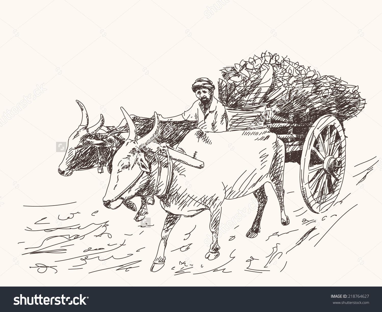 Asian farmer riding on ox cart stock vector 218764627 shutterstock