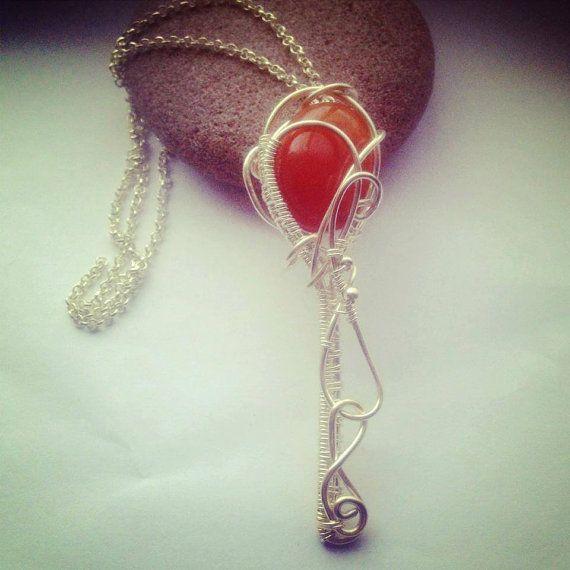 Wire work carnelian key necklace on Etsy, £15.00 #key #healing #wirework