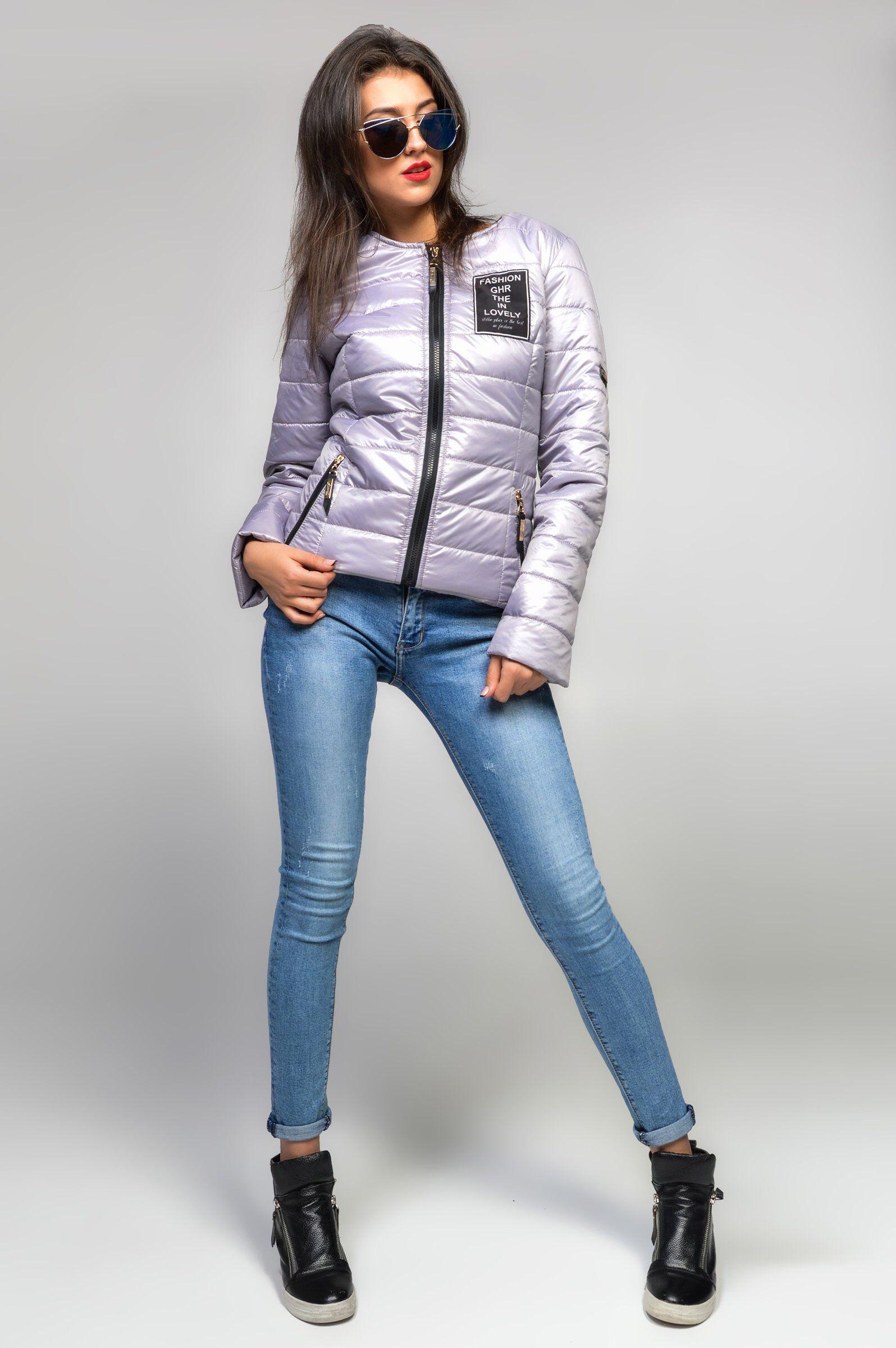 Silver Metallic Quilted Puffy Jacket Women Autumn Winter