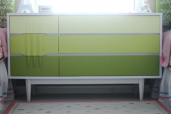 Espresso Finish On Dresser, With Sage Green Ombre Drawers