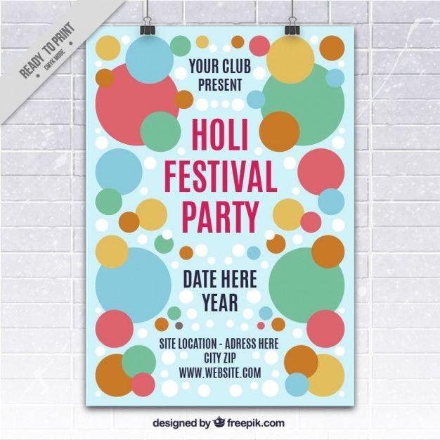 Circles Holi festival poster Free Vector BCard Pinterest - fresh invitation banner vector