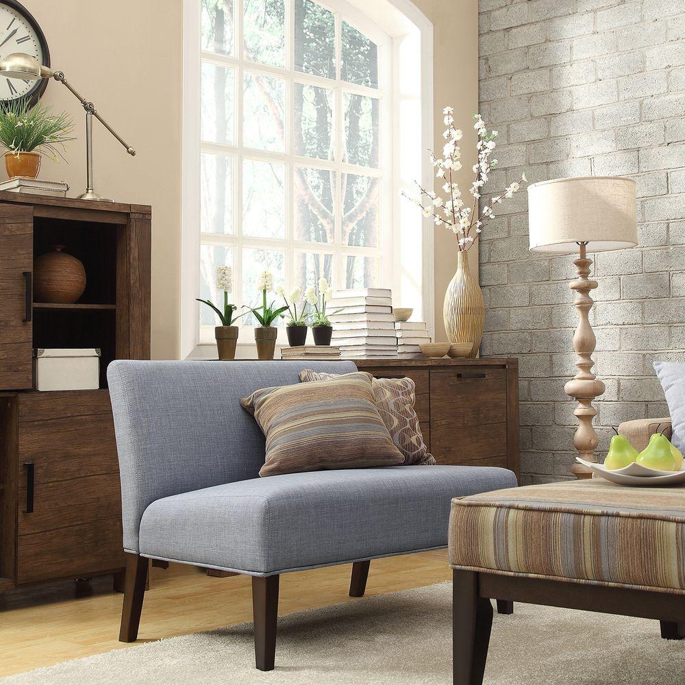 INSPIRE Q Wicker Park Light Blue Linen Armless Loveseat   Overstock.com  Shopping - Great