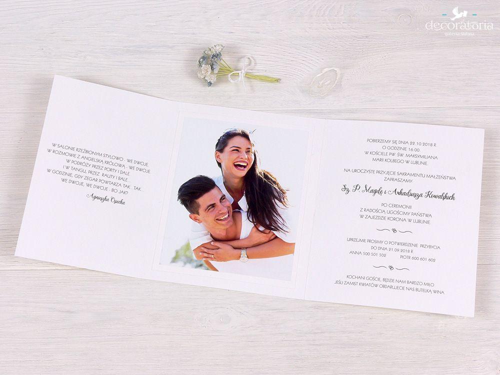 Wedding Invitations With Photo Zaproszenia ślubne Ze Zdjęciem Pary