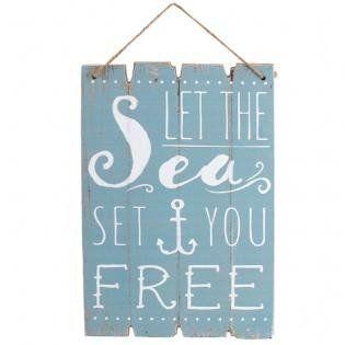 "Rustic Nautical ""Let The Sea Set You Free"" Retro Plaque Sign"