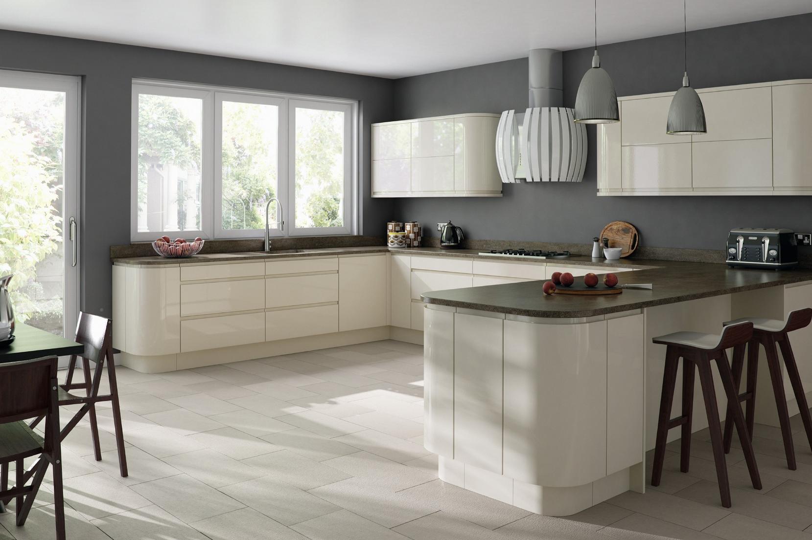 Glossy Cream Kitchen Cabinets Google Search Kitchen Remodel
