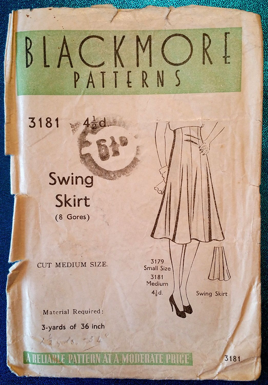 Rare vintage late 1930's / early 1940's gored swing skirt
