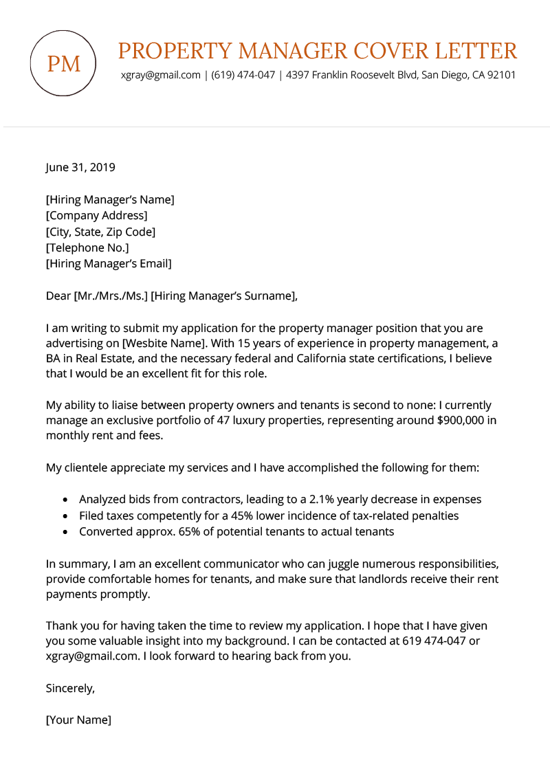 Property Manager Cover Letter Sample Download for Free