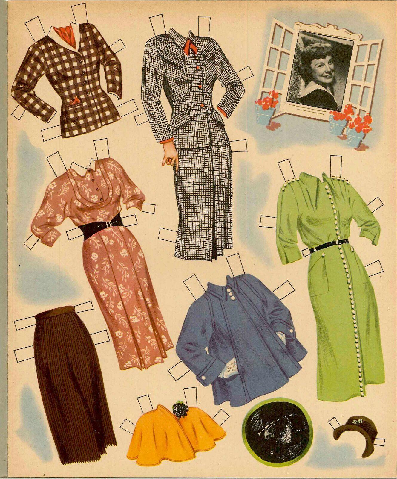 VINTGE 1952 June Allyson PAPER DOLL ~BEAUTIFUL HD LASER REPRODUCTIN~ORG SZ UNCUT