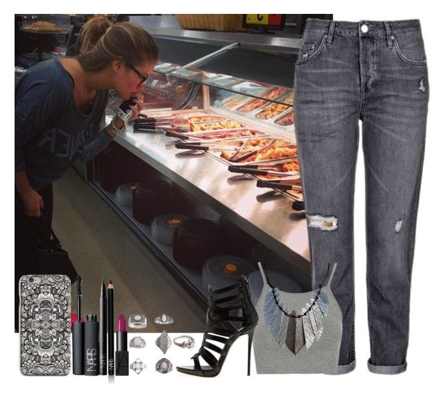 """""""Let's Eat Something"""" by assia-mouaqk ❤ liked on Polyvore featuring Topshop, Giuseppe Zanotti, NARS Cosmetics and INDIE HAIR"""