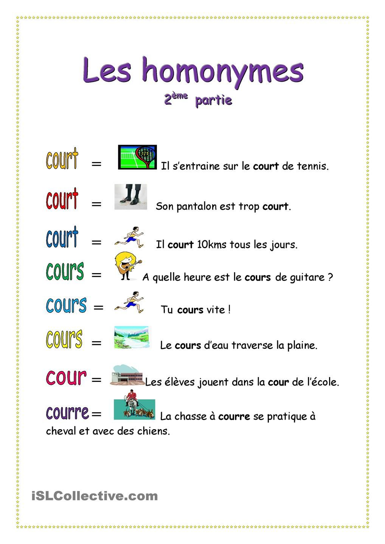 Homonymes | Idiomas, francés | Pinterest
