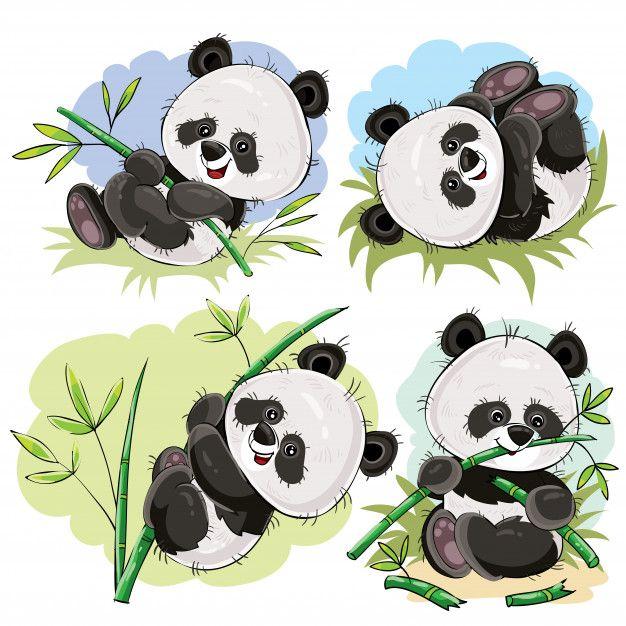 Bebé oso panda juguetón con vector de dibujos animados de bambú ...