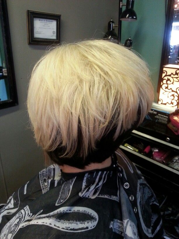Blonde Reverse Ombre With Black Hair Color Short Stacked Inverted