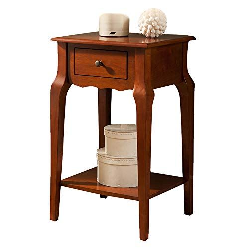 Zhirong Solid Wood Bedside Table Sofa Side Table Corner Table 1 Drawer Storage Tab Living Room Furniture Tables Solid Wood Bedside Tables Bedside Table Storage