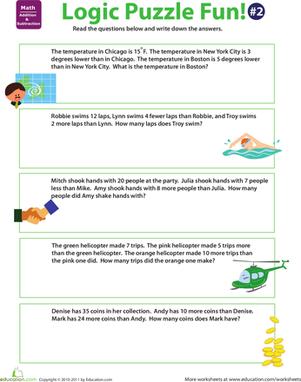 Logic Puzzle Fun 2 Worksheet Education Com Third Grade Math Worksheets Math Logic Puzzles Logic Puzzles