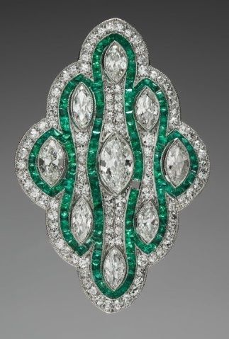 Pendant Brooch, 1925-1930, retailed by Cowell and Hubbard Co. (American, b. ), composed of platinum, diamonds, and emeralds.